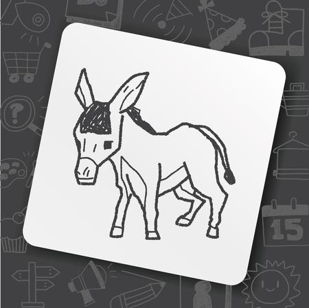 Donkey doodle illustration.