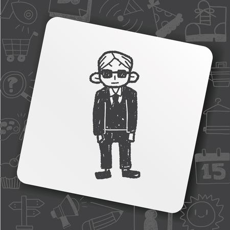 bodyguard doodle Stock Vector - 93199444