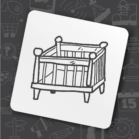 baby bed doodle Illustration