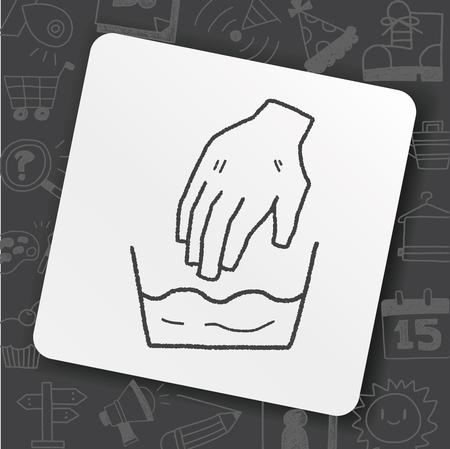 Waschen Hand Gekritzel Illustration Standard-Bild - 93200019
