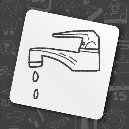 faucet doodle Vector illustration. 向量圖像