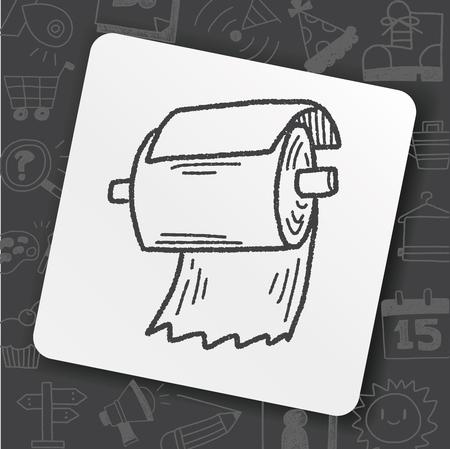 Toilet paper doodle illustration.