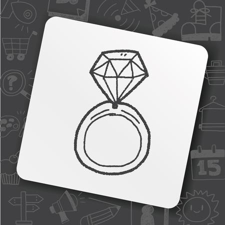 Diamond ring doodle icon illustration.