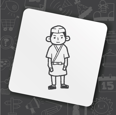 Japanese chef doodle drawing Illustration