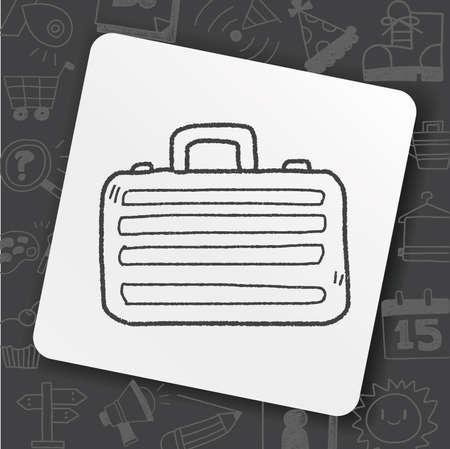 briefcase doodle drawing Illustration