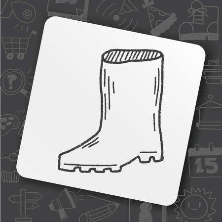 rain boots doodle Illustration