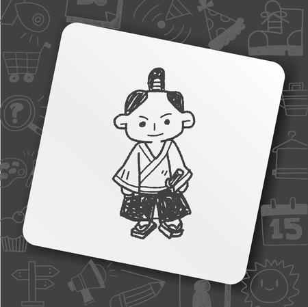 Samurai doodle icon