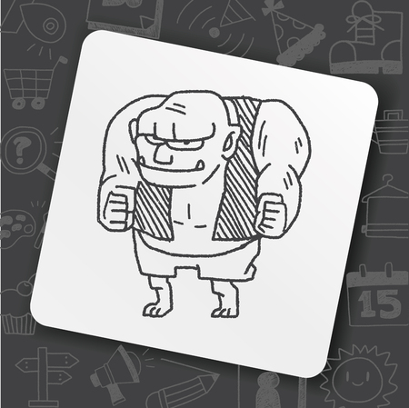 Giant ogre doodle icon. Illustration