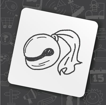 Wooden fish doodle Ilustração