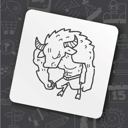 Bull monster doodle Illustration