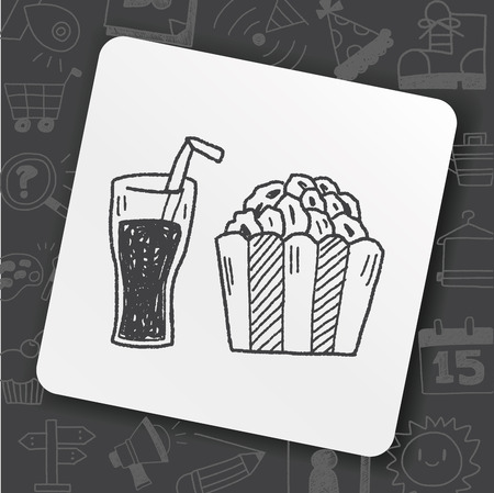 Popcorn and drink doodle Vectores