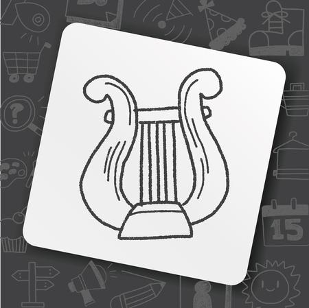 harp doodle Vectores