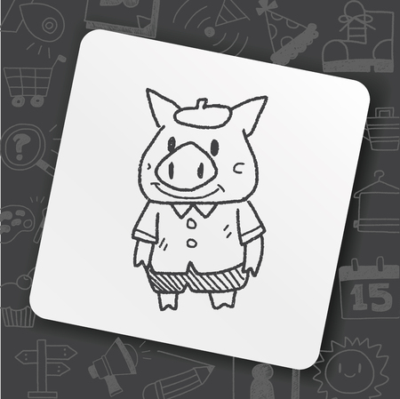 three little pigs doodle Stock Vector - 101440902
