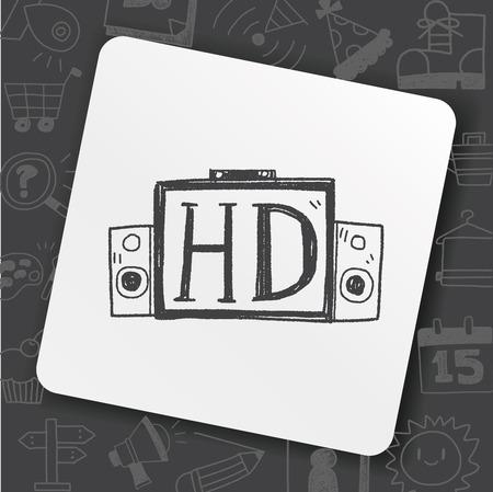 HD TV doodle Ilustrace