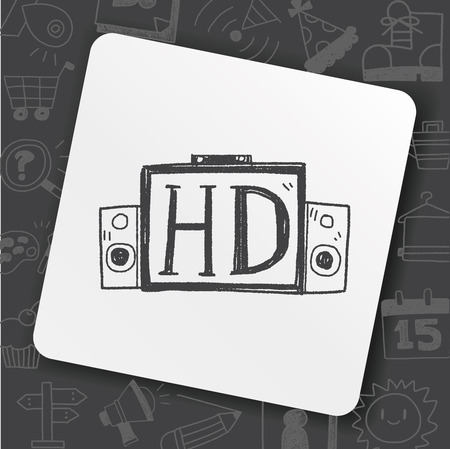 HD TV doodle  イラスト・ベクター素材
