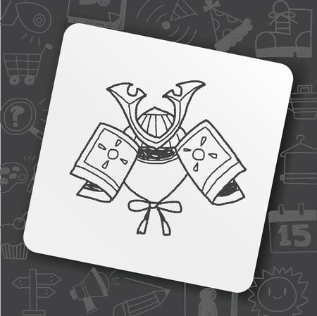 samurai helmet doodle Illustration
