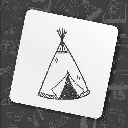 Indians tent doodle Stock Vector - 101441729