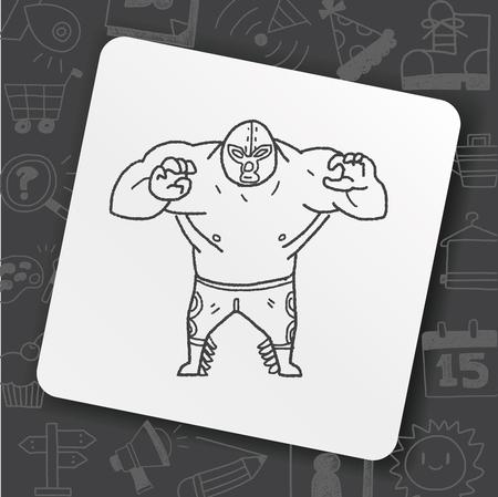 mexican wrestler doodle