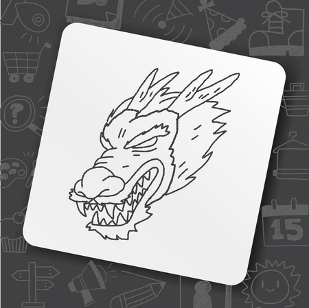 chinese dragon doodle Illustration