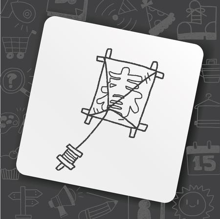Japanese spring word kite doodle Illustration