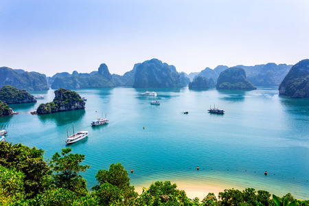 world natural heritage: View of a famous Bay from height, a World natural heritage in Vietnam.
