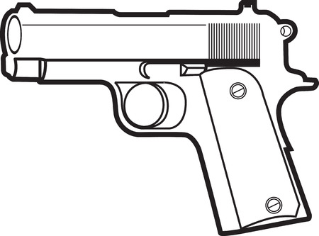 colt: Nice sharp and clean vector illustration of a pistol.