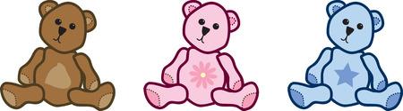 Three cute and cuddley vector teddy bears