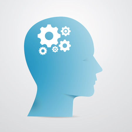Blue Vector head silhouette with cogs instead of brain - Illustration