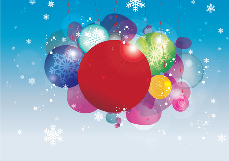 Vector Christmas baubles bubbles and snowflakes