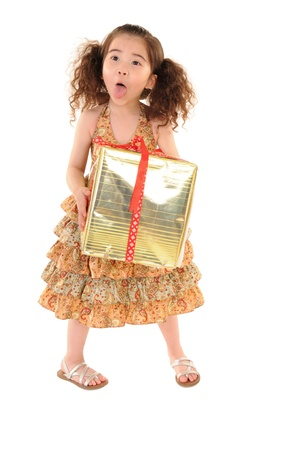 picture of happy little girl with gift box  Stock Photo