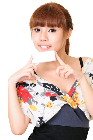 Portrait of a happy young woman with business card against white background Stock Photo - 13603882