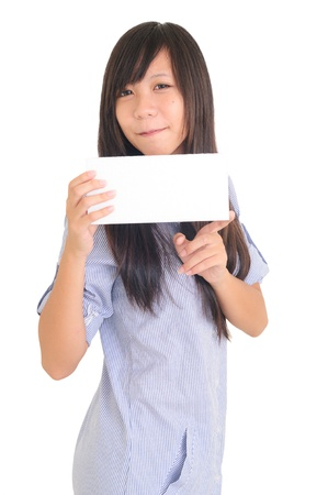 Portrait of a happy young woman with bussiness card against white background Stock Photo - 13603836