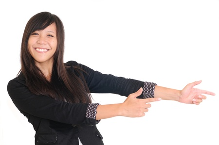 picture of attractive businesswoman pointing her finger  Stock Photo