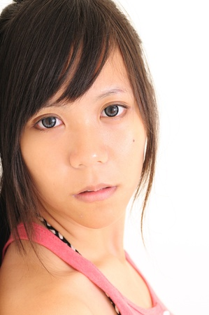 Close-up portrait Asia young woman with beautiful black eyes  Stock Photo