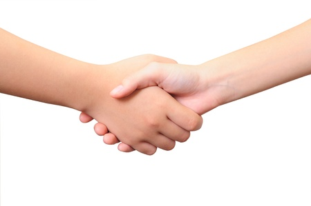 Two Women s Hands- Handshake - Isolated over White Background  Stock Photo