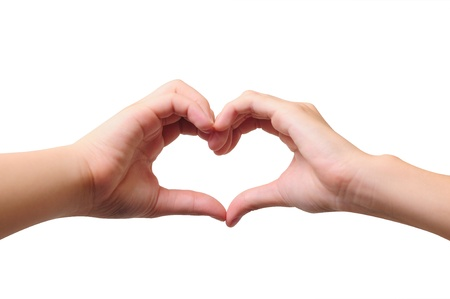 Love concepts - Hands forming a heart on white background Stock Photo - 13653805