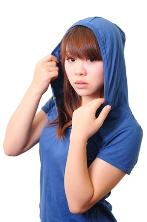 fashion model in white Hood on white background