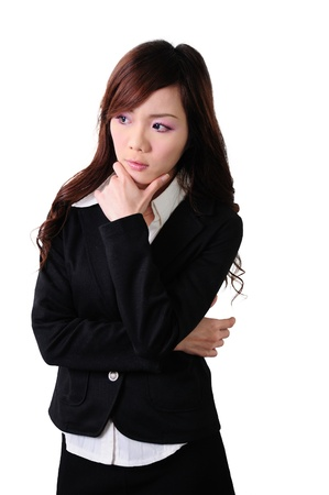 confused woman: Asian women, businessmen leaning on chin, think about it, isolated on white background  Stock Photo