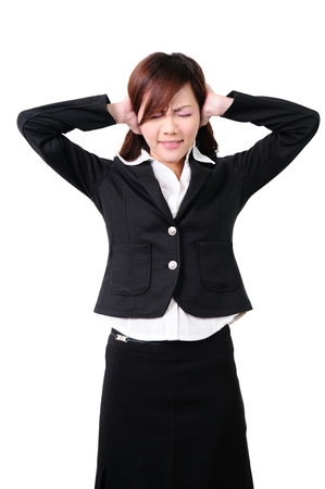 annoyance: Young woman with his hands covering his ears not to hear noise