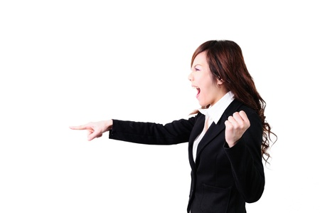 terrified: Young business woman shouting