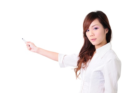 picture of attractive businesswoman pointing her finger Stock Photo - 13653814
