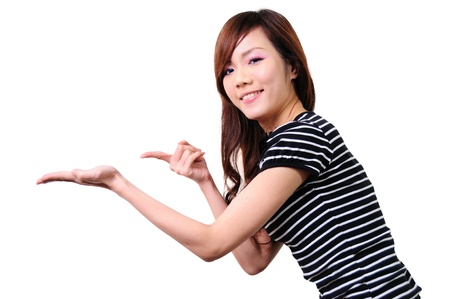 attractive young woman pointing her finger  Stock Photo