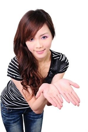 Beautiful young woman with hand out Stock Photo - 13668231