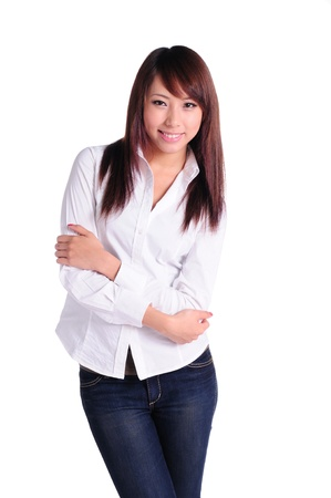 Portrait of confident businesswoman with crossed arms smiling, isolated on white background Stock Photo - 13668196