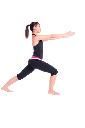 stance: Young healthy woman standing a yogatic stance