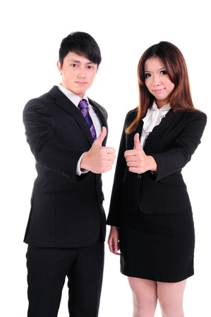 business people with thumbs up,isolated on white background Stock Photo - 13684435