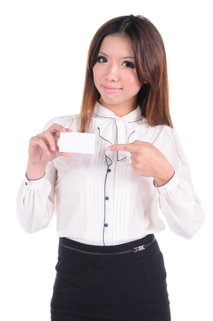 Portrait of a happy young woman with bussiness card against white background Stock Photo - 13684432