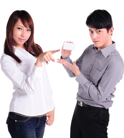 Couple hold card with copy space and smile  Look on each others  isolated over white