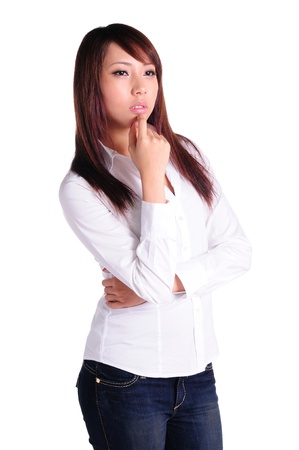 ughtful business woman - isolated over a white background Stock Photo
