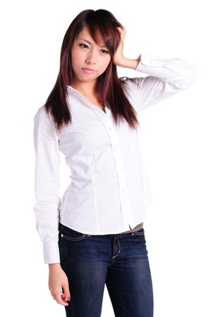 sed businesswoman standing, isolated photo